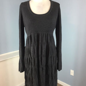 Calvin Klein Charcoal Gray Tiered Flare knit dress